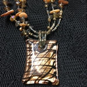Tigers Eye 3 Strand Necklace with Pendent CG 19 in